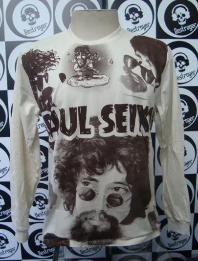 Camiseta Manga Longa Estampa total - Raul Seixas - bege