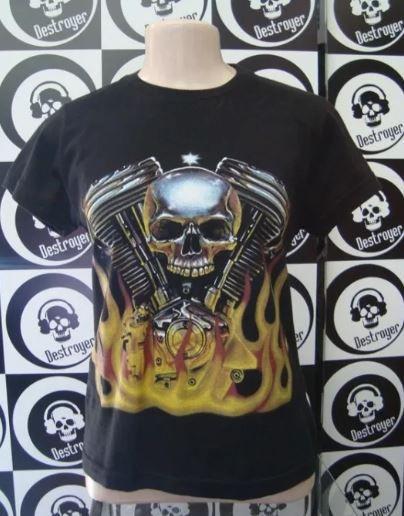 Baby look Harley Davidson - Motor em V Skull