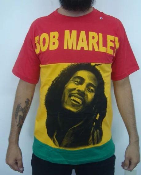 Camiseta Bob Marley - Jamaica Flag Colors