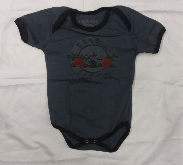 Body para bebês - Guns and Roses - Cinza
