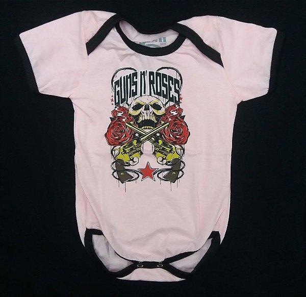 Body para bebês - Guns and Roses - Caveira - Rosa