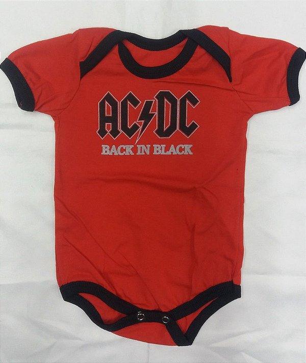 Body para bebês - AC DC - Back in Black Vermelho