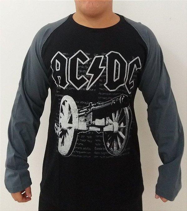 Camiseta manga longa raglan AC DC - For those about to rock