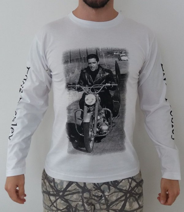 Camiseta Manga Longa - Elvis Presley - Branca