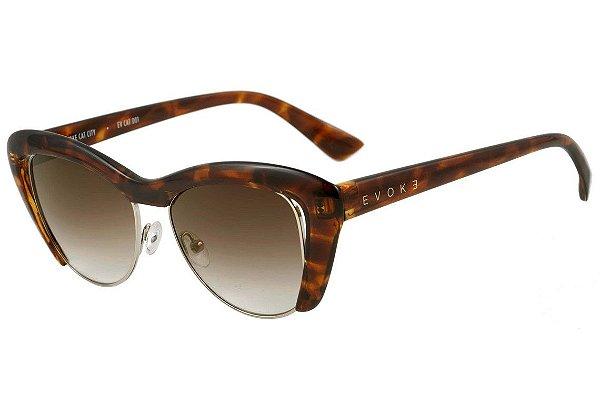 Óculos de Sol Evoke Cat City EV Cat D01 Turtle Shine Brown Degradê