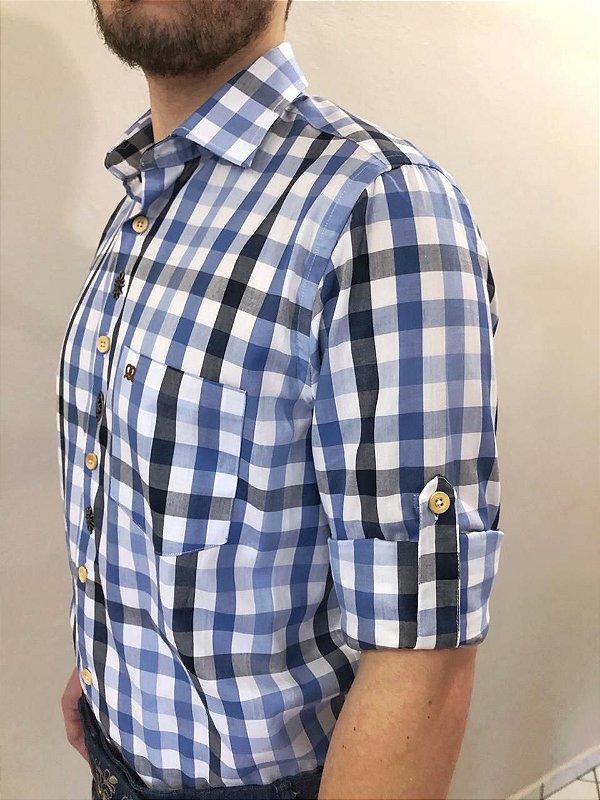Camisa Traje Típico Xadrez Azul Grande