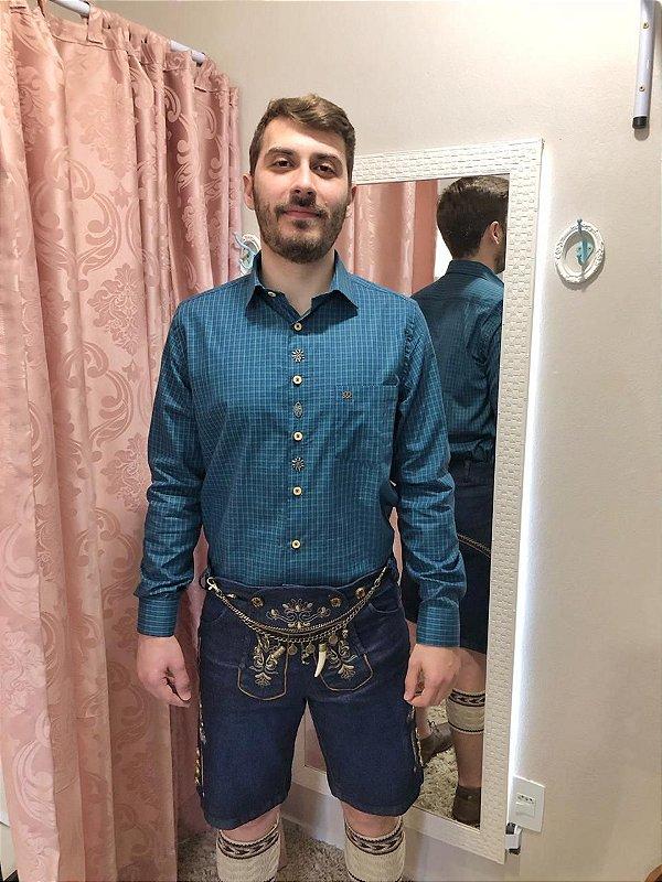 Camisa Traje Típico Xadrez Verde