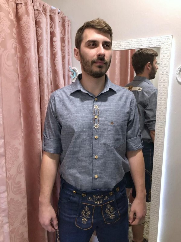Camisa Traje Típico Bordada Cinza