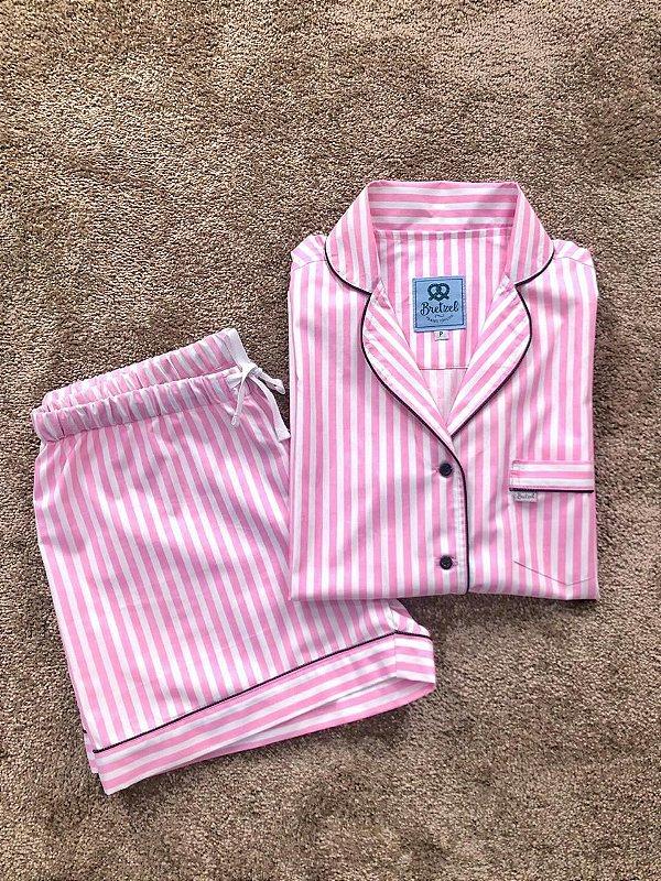 Pijama Curto Listrado Rosa e Preto