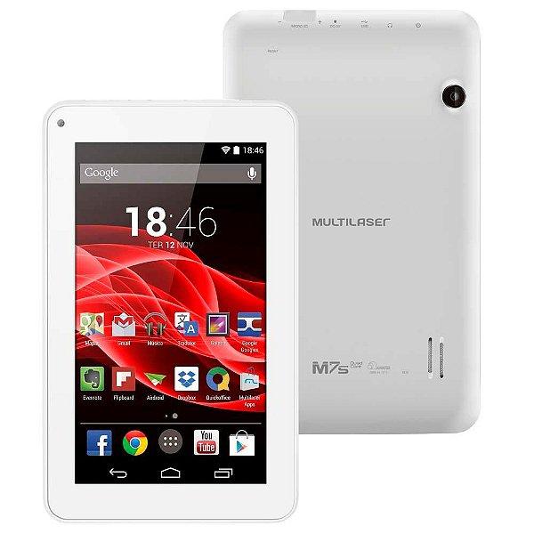 """Tablet Multilaser ML Supra Quad Core com Tela 7"""", 8GB, Wi-Fi, Android 4.4, Suporte à Modem 3G e Processador Quad Core - Branco"""