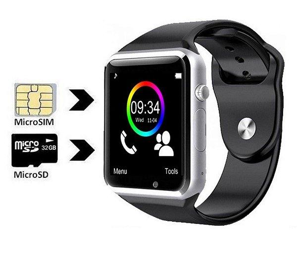 Smartwatch Câmera Smart Relógio A1 Sem Suporte A Chip - Prata/Preto