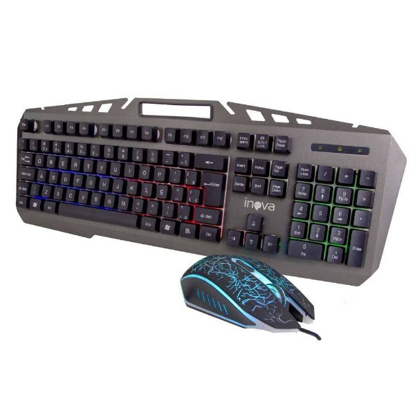 Kit Teclado e Mouse Gamer Inova Teclas Retroiluminadas-Preto