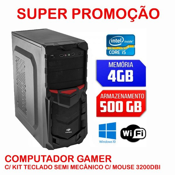 Computador TF ELITE - Core i5 3.20/mem4gb/HD500gb Kit Teclado semi-mecanico e Mouse gamer
