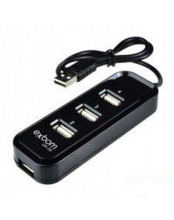 HUB USB 4 Portas H-20 Preto - EXBOM