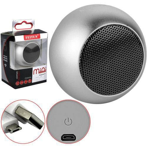 Caixa De Som Bluetooth Mini Speaker 3w Cinza Feitun Fn-0006
