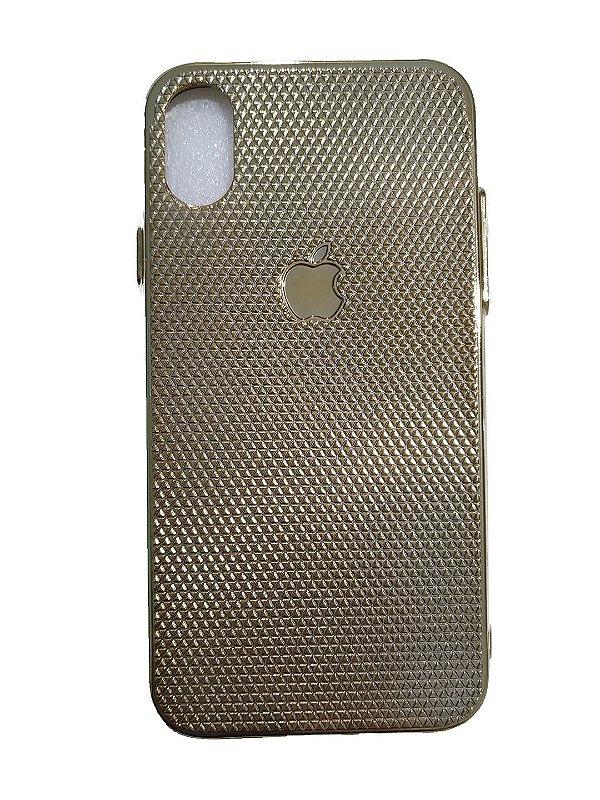 Capa De Silicone Para Celular Apple -iPhone X dourado ou azul 2un
