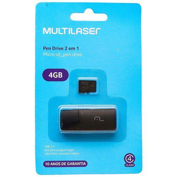 Cartão Micro Sd E Leitor Usb Multilaser 2x1 4gb