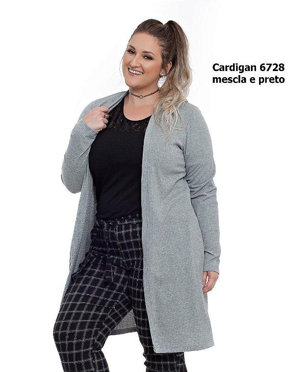 CARDIGAN PLUS SIZE M/L CANELADO MESCLA REF 6728