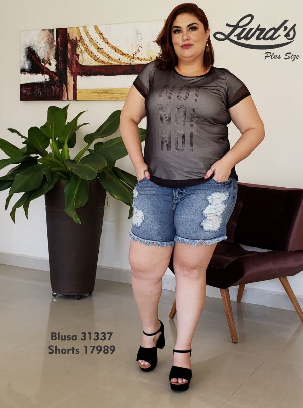 SHORTS PLUS SIZE JEANS DESTONADO REF 17989
