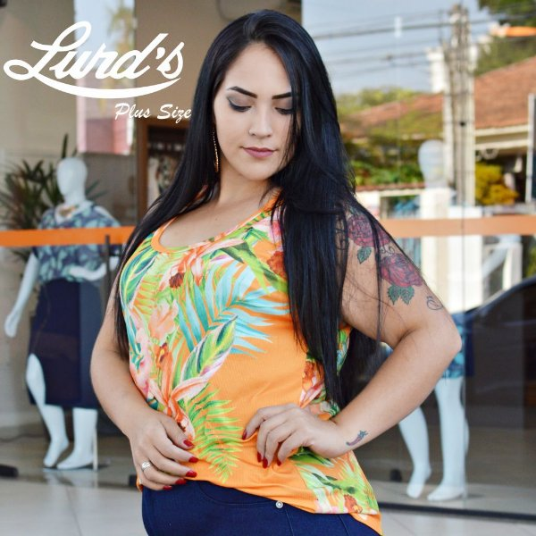 REGATA PLUS SIZE ESTAMPA LARANJA REF 7240066