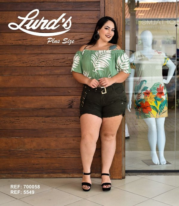 CROPPED PLUS SIZE VERDE OMBRO A OMBRO REF 720058