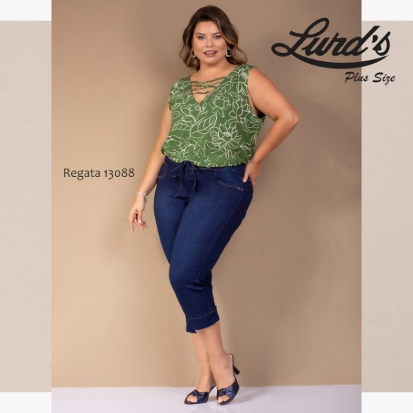 REGATA PLUS SIZE ESTAMPADA VERDE REF 13088