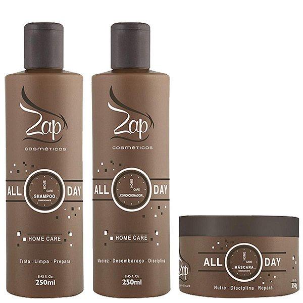 Kit All Day Zap Cosméticos (Shampoo + Condicionador + Máscara)