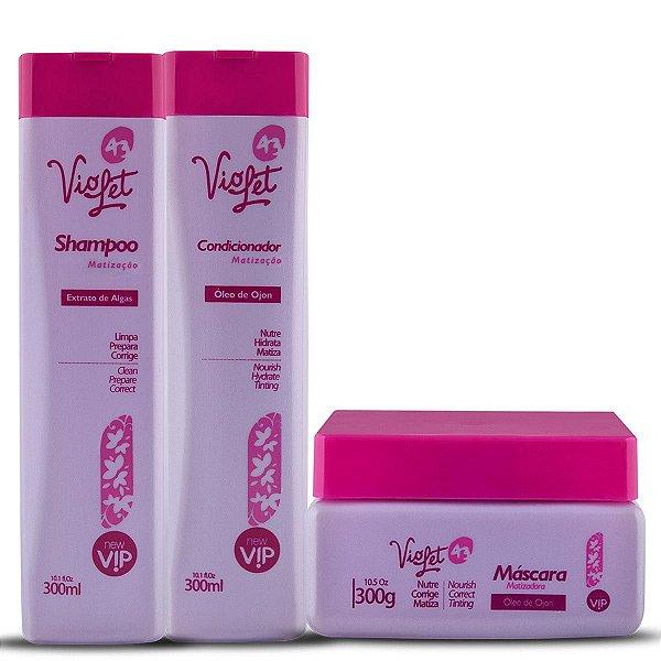 Kit Violet 43 Manutenção Para Loiros Vip Cosméticos (Shampoo + Condicionador + Máscara)