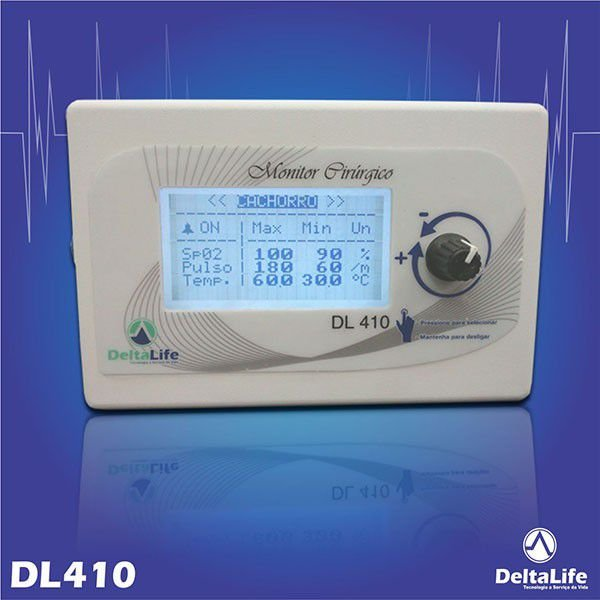 DL410 - Monitor cirúrgico vet com temperatura - DeltaLife