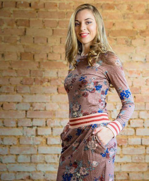 Vestido em Malha Estampado Floral - Moda Executiva Evangélica