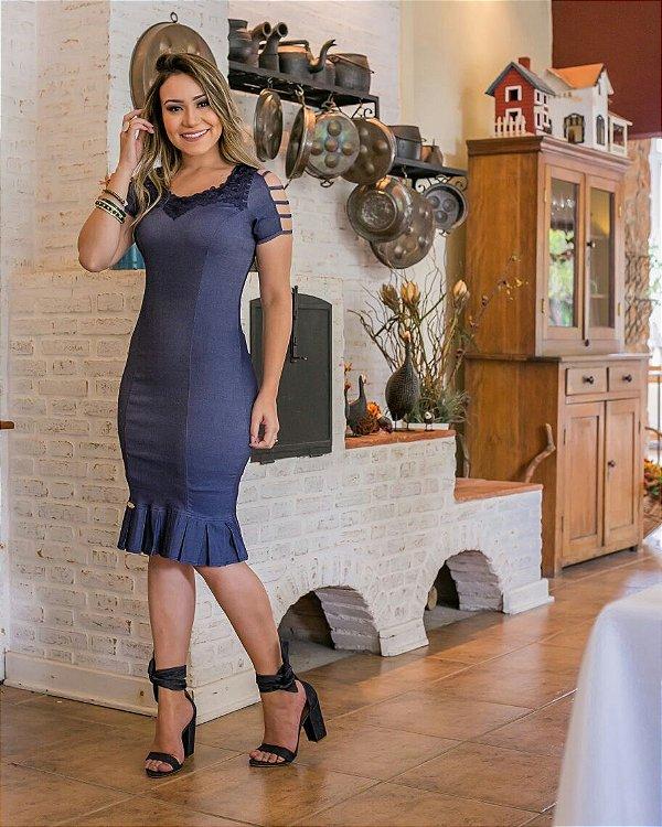 Vestido Sabrina Jeans Azul - Moda Evangélica Executiva