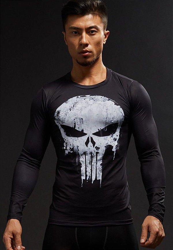 Camisa Camiseta Série Justiceiro Punisher - Manga Longa Compressão ... 99fbde9d1db71