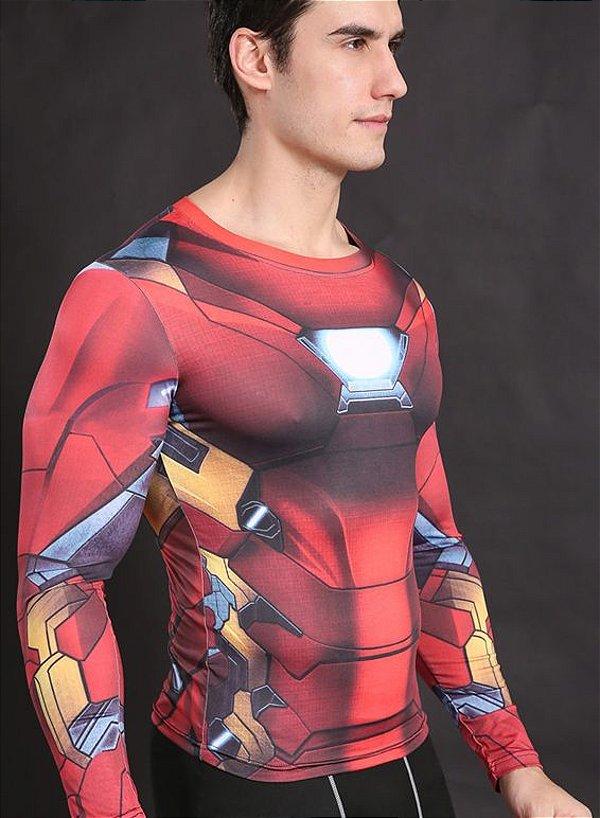 Camisa Camiseta Homem de Ferro Manga Longa- Compressão Térmica e 3D ... c6dcaf0d1d44e