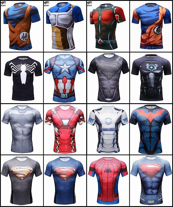 Camisa Superman,Flash,DeadPool,Homem de Ferro Compressão