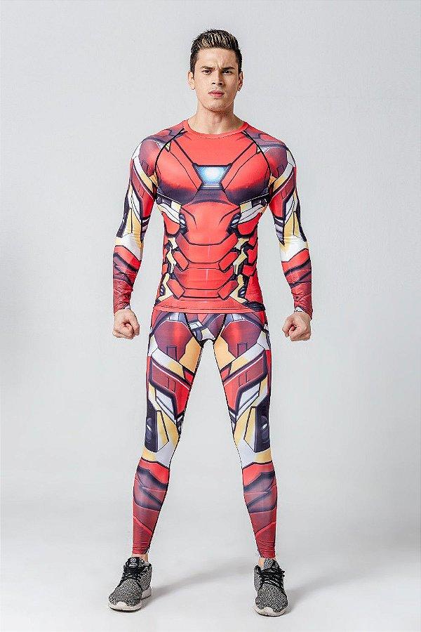 Conjunto Heróis Homem De Ferro 2018 Calça Legging + Camisa Camiseta ... eaf654090b5a0
