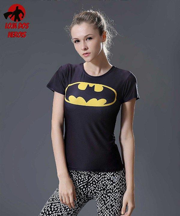 Camisa Feminina Batman Clássica Manga Curta - Compressão Térmica e ... 686ce15dae626
