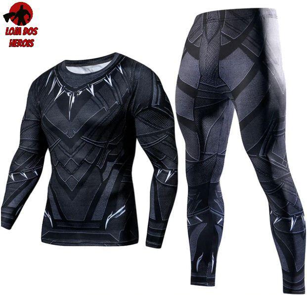 Conjunto Calça Pantera Negra Manga Longa