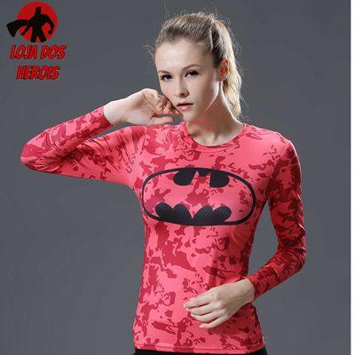 Camisa Feminina Batman Vermelha - Manga Longa