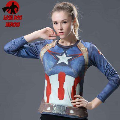 Camisa Feminina Capitão América Guerra Civil - Manga Longa