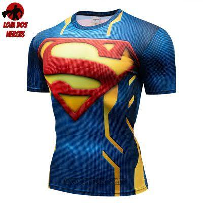 Camisa Camiseta Superman Desenho Compressão Térmica e 3D Slim Fit ... de89b07567251