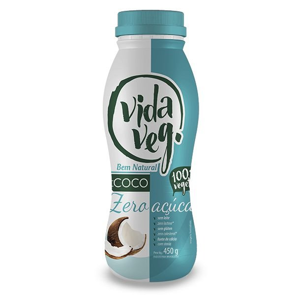 Iogurte Vegano de Coco Natural Zero Açúcar Vida Veg 450g❄