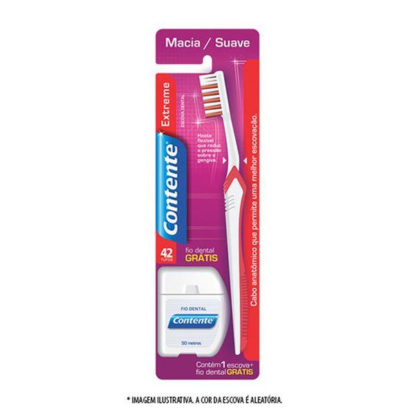 Escova Dental Extreme(Cor sortida) + Fio Dental 50m Contente