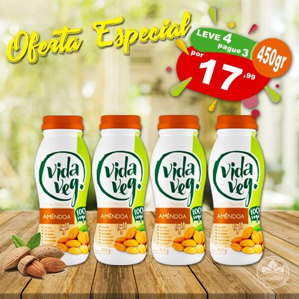PROMO Leve 4 Pague 3 Iogurte Vegano de Amêndoa Natural Light Vida Veg 450g ❄