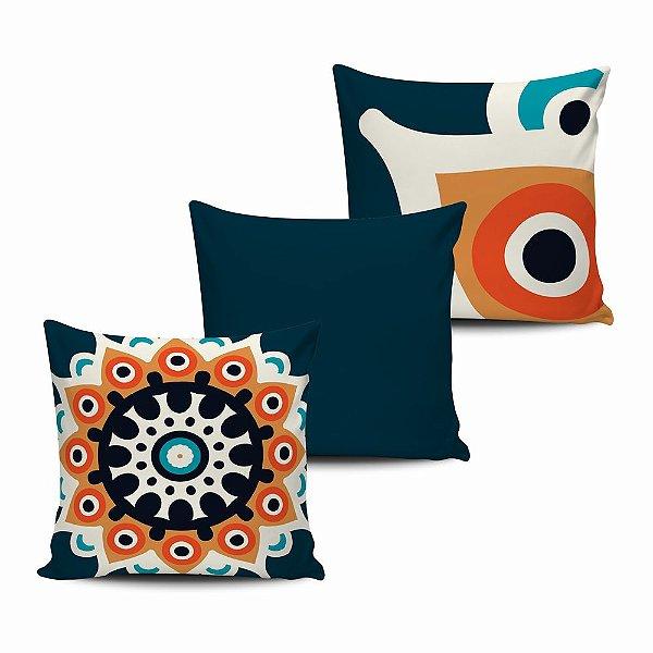 Conjunto 3 Almofadas Decorativas 45x45 com enchimento Mandala - ALMAND001
