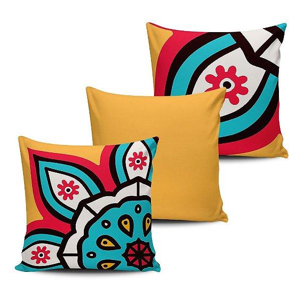 Conjunto 3 Almofadas Decorativas 45x45 com enchimento Mandala - ALMAND002