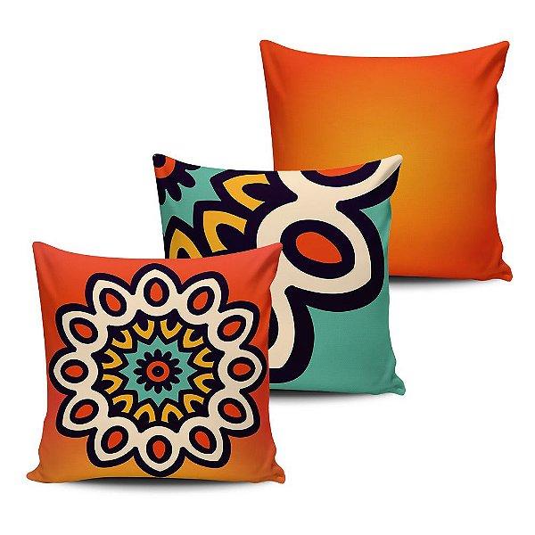 Conjunto 3 Almofadas Decorativas 45x45 com enchimento Mandala - ALMAND007