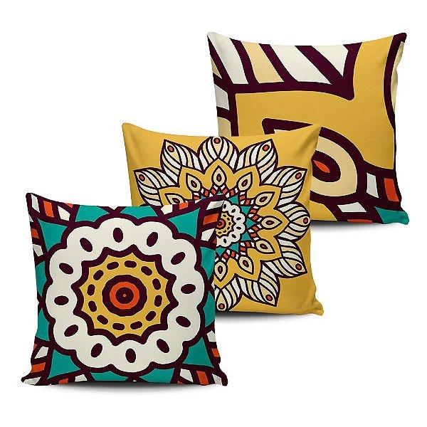 Conjunto 3 Almofadas Decorativas 45x45 com enchimento Mandala - ALMAND008