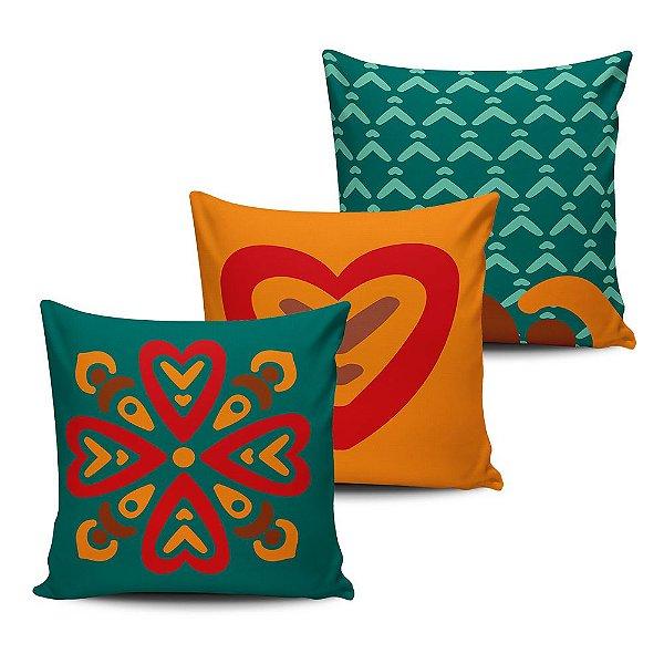 Conjunto 3 Almofadas Decorativas 45x45 com enchimento Mandala - ALMAND013