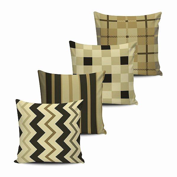 Conjunto 4 Almofadas Decorativas Geometricas Marron 45x45 com enchimento