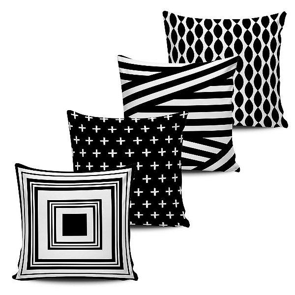 Conjunto 4 Almofadas Decorativas 45x45cm Geometricas Black White